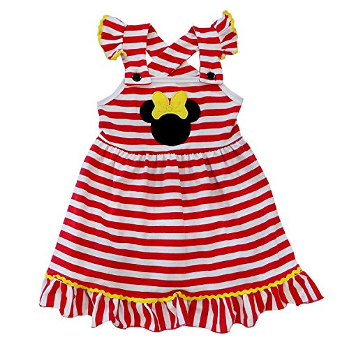 So Sydney Girls Toddler Pink or Red Minnie Mouse Kids Boutique Dress or Outfit (4T (M), Minnie Stripe -