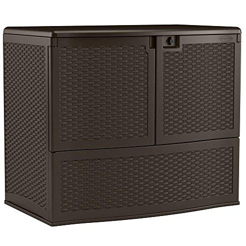 - Suncast Resin Vertical Storage Box with Top Lid and Front Doors - Outdoor Bin Stores Tools, Accessories and Toys - Java Wicker