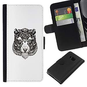 YiPhone /// Tirón de la caja Cartera de cuero con ranuras para tarjetas - Tribal del tatuaje del tigre - HTC One M9