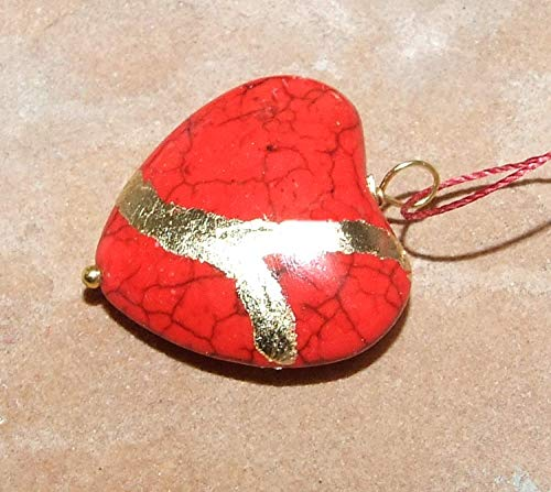 (Large Jasper-Red Howlite Broken Heart Mended with 23k Gold, Kintsugi Cord Necklace)