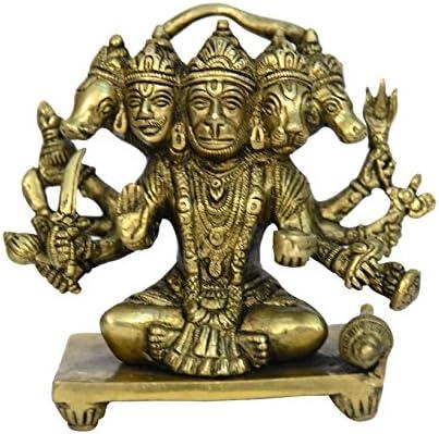 Brass Metal Panchmukhi Hanuman Sitting Statue Fine Finishing Work India by Bharat Haat BH00692
