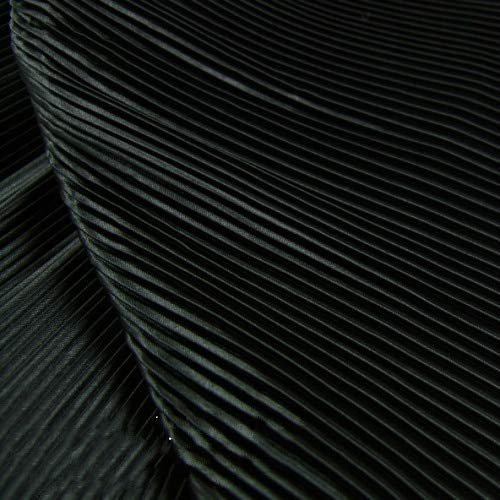 Pukido Garment Fabric of Pure Black Pinstripe Accordion Pleated Silk Satin Crushed Through Dress Fabric - (Color: Pink)