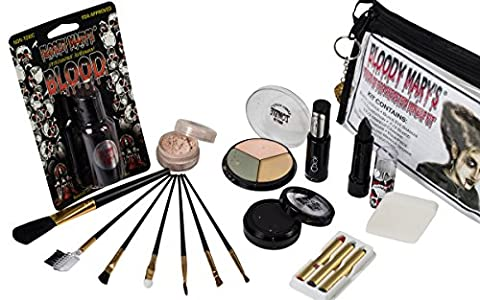 Bride Of Frankenstein Special Effects Makeup Kit By Bloody Mary - Professional Halloween Monster SFX Makeup - Includes Lipstick, Foundation, Setting Powder, 3 Crayons, 4 Brushes, Eye Shadow & (Cheap Special Effects Makeup)