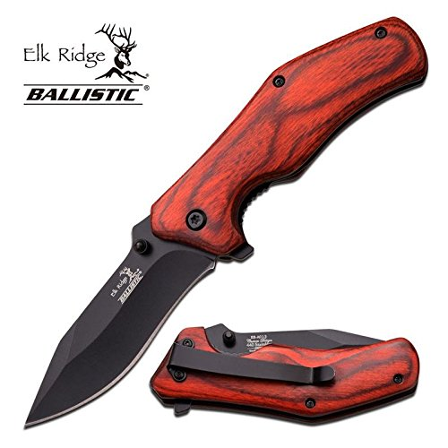 LinerLock Red 2.9 Inch Closed Pakka Wood Handle Spring Assist Opening Custom Hunting Knife
