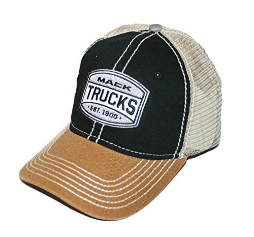 Mack Trucks Est. 1900 Black & Khaki Two Tone Snapback Trucker Mesh Cap -