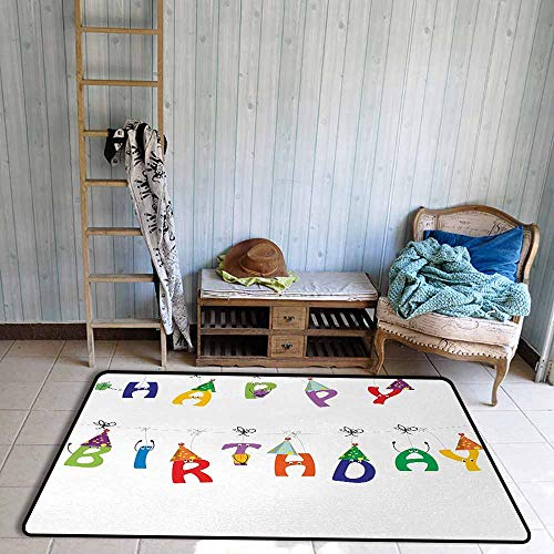 Floor Rug Pattern Birthday Celebration Cute Colorful Letters on Ropes Funny Faces Pointy Party Hats for Kids Easy to Clean W59 xL82.5 Multicolor ()