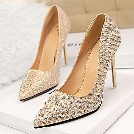 GTVERNH golden tacchi acqua esercitazione string matrimonio scarpe vestito da sposa luce solo scarpe una damigella bene i tacchi,trentotto