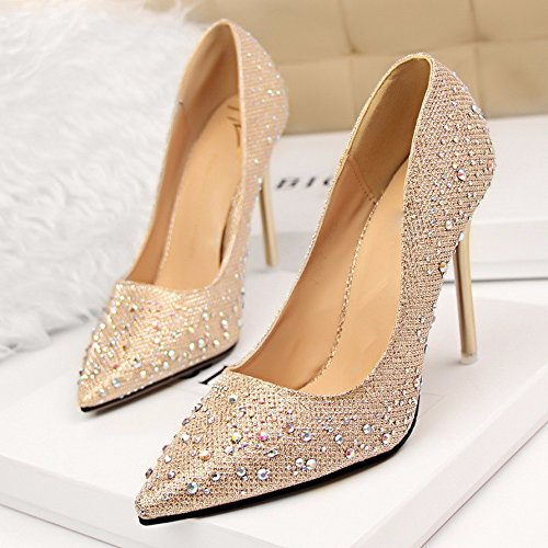 Shoes Water Light Shoes Single Bridesmaid Wedding Heels Drill Thirty String Fine Heels GTVERNH nine Female Dress Wedding Golden RzwEqAzP