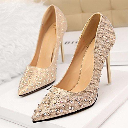 GTVERNH-Goldene Pumps Wasser Bohrgestänge Hochzeit Schuhe Und Kleid Licht Einzelne Schuhe Die Brautjungfer - Heels