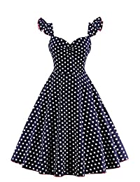 Babyonline Women 1950s V neck Polka Dot Retro Vintage Cocktail Party Prom Dress