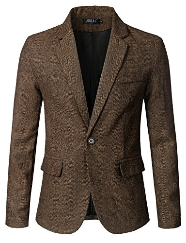 JOGAL Mens Slim Fit Premium Stylish Wool Blend One Button Suit Coat Jacket Business Blazers Medium Coffee (Brown Pinstripe Wool Suit)