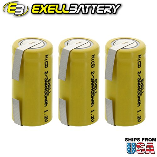 3x Exell 2/3AA 1.2V 400mAh NiCD Rechargeable Batteries with Tabs for medical instruments/equipment, electric razors, toothbrushes, radio controlled devices, electric tools