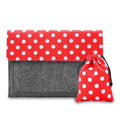 Phenas 13.3-Inch Felt and Canvas Handmade Sleeve Case Cover Bag Protective Carrying Briefcase with Extra Pocket, Red Dot Laptop Sleeve Dot