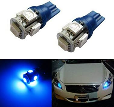 2x T10 5-smd 5050 LED Blue Lights Bulbs for 194 168 W5w Interior,door Parking Lights License Plate
