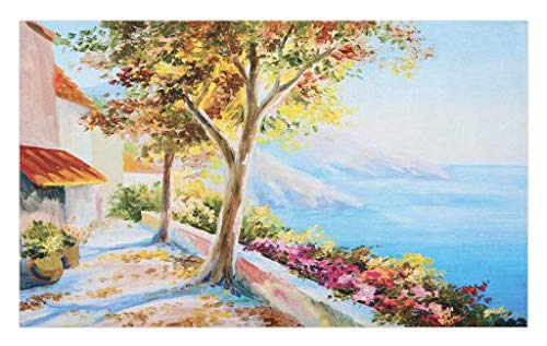 Doormat, Summer House Sea Mountain Terrace Trees Flower Bed in Autumn, Decorative Polyester Floor Mat Non-Skid Backing, 30 W X 18 L inches, Pale Blue Pink Green ()