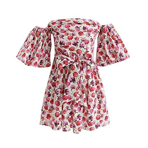 (Women Floral Print Mini Dress Bow tie Sashes Slash Neck Short Sleeve A line Dresses, L,C)