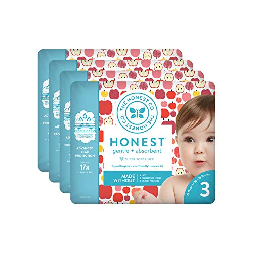 The Honest Company Baby Diapers With TrueAbsorb Technology, Them Apples, Size 3, 108 Count