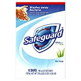 Safeguard Deodorant Bar Soap, White With Touch of Aloe, 8 Bars (Pack of 6)