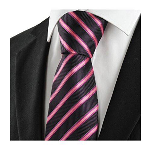 Sarriben Fashion Formal Business Royal Pink/Brown Stripe Slik Men's Necktie Tie