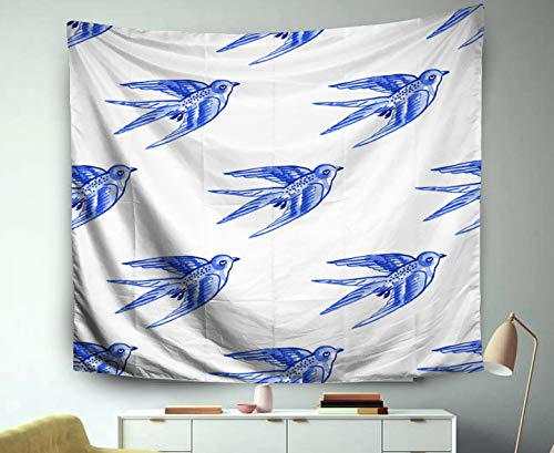 3D Tapestry Wall Hanging,Jacrane Art Tapestries 60X50 Inches Delft Blue Style Watercolour Pattern Traditional Dutch Motif Swallows Cobalt White Background Wallpaper T For Dorm Bedroom Home Decor