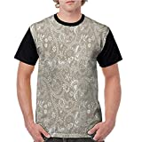 Men Summer Streetwear,Floral,Monochrome Abstract Shapes Lines Swirls Flower and Leaf Silhouettes Checkered Design,Tan White S-XXL T Shirt Print Short Sleeve