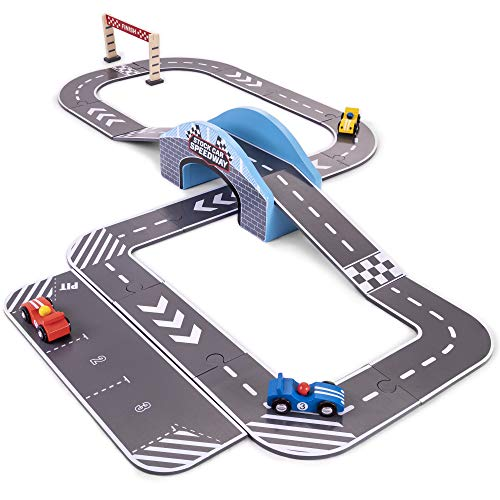(Stock Car Speedway | Wooden Race Track Playset with 3 Colorful Cars, Customizable Track Layouts, & Interlocking Track Pieces | Includes Curves, Ramps, Pit Row, Finish Line, and More! (24 pcs.) )