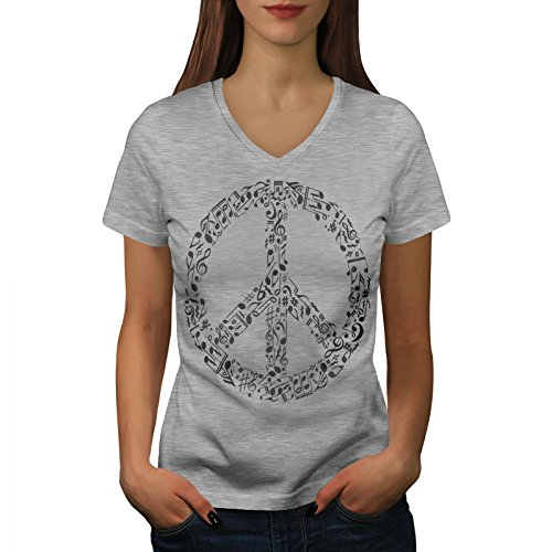 Music Rasta Womens V-Neck T-Shirt, 0 Casual Design Tee Grey 2XL (Peace Sign Organic Cotton Tee)