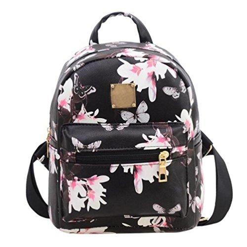 Women Girls Floral Printing PU Leather Shoulder Bag Backpack (Black)