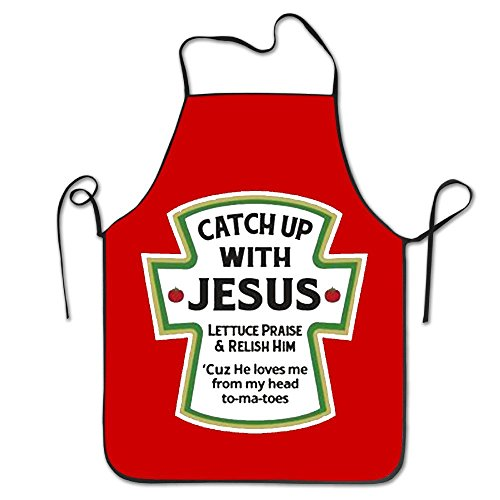 YUANDAN Catch Up With Jesus Christian Personalized Chef Aprons - Bbq Christian Apron
