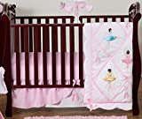 Ballet Dancer Ballerina Pink and white Baby Girl Bedding 4 Piece Crib Set Without Bumper