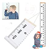 """Metric Growth Chart for Kids,Baby Height Wall Hanging Ruler Roll Up Canvas with Wood Frame for Measurement, Nursery Room Decoration, Wall Decor - 79"""" x 7.9"""", Portable with Nice Package"""
