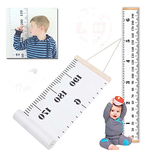 Growth Chart for Kids Baby Height Wall Hanging Ruler Roll Up Canvas with Wood Frame for Measurement, Room Decoration, Wall Decor - 79