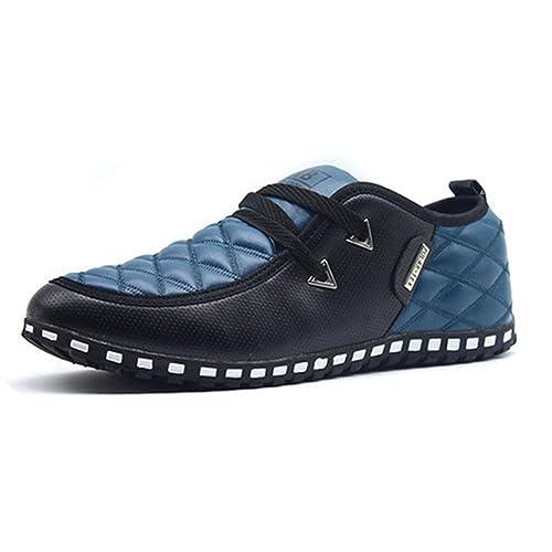 LIEBE721 Hombres Casual Mocasines Cuero Luz Antideslizante Lace Up Casual Conducir Zapatos Cómodo: Amazon.es: Zapatos y complementos