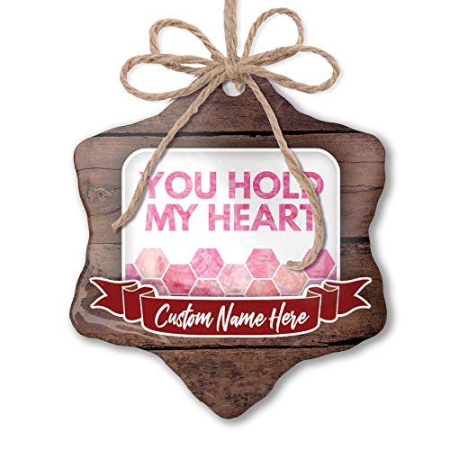 NEONBLOND Custom Family Ornament You Hold My Heart Mother's Day Watercolor Honeycomb Pink Personalized ()
