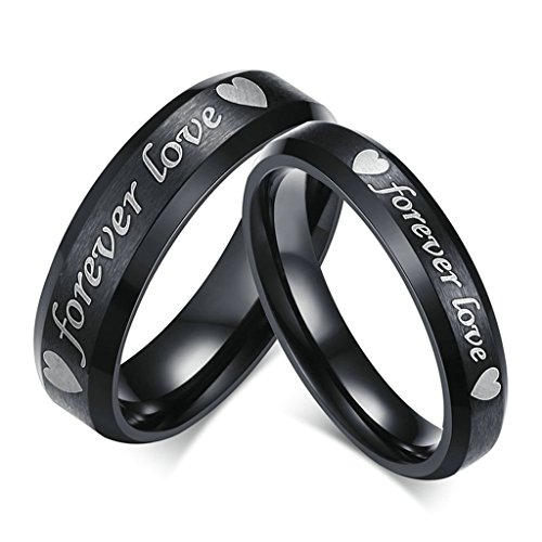 "KnSam Men Stainless Steel Wedding Bands 6MM ""Forever Love"" Heart Comfort Fit Black Size 11"