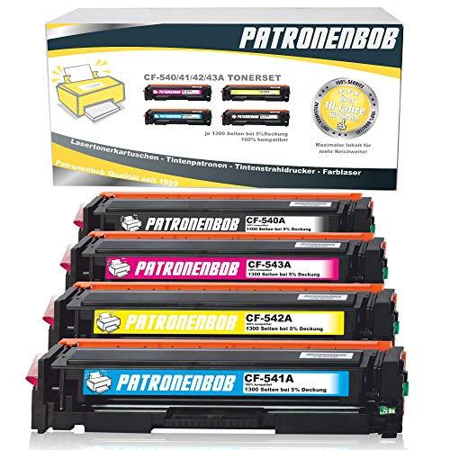 4er Pack Patronenbob® Toner Kompatibel zu HP CF540A-CF543A für Color Laserjet Pro M-280nw M-281fdn M-281fdw M-254nw M-254dw - 203A