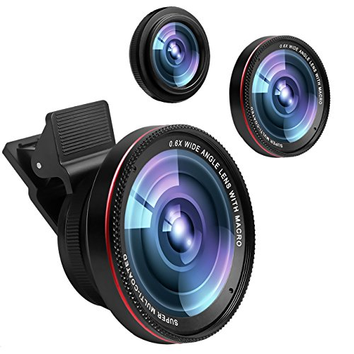 Cell Phone Camera Lens,0.6X Super Wide Angle Lens&15X Macro Lens, 2 in 1 Clip-on Professional HD iPhone Camera Lens Kit for iPhone X/8/7/6S/6s plus/6/5S,iPad Air,Samsung,Android Smartphones,Tablet (Best Macro Lens 2019)