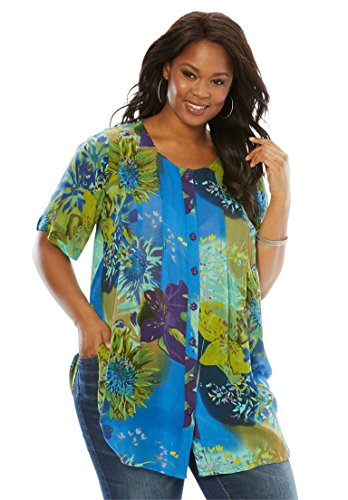 Roamans Womens Plus Size Angelina Tunic In Crinkle Crepe
