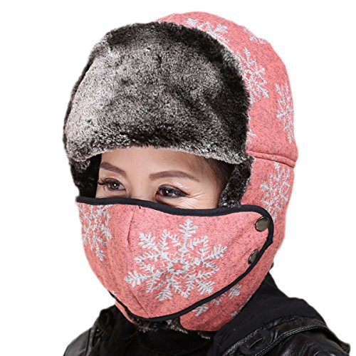 Aviador De Lana De Femenino Ruso Gorras Oveja Esquí De De Pink De Piel Gorro Sombrero Gorro Invierno T6414