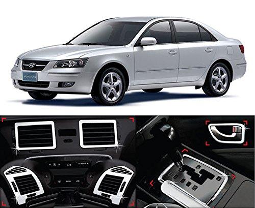 AUTO CLOVER Chrome Interior Molding Garnish Trim Cover Kit 10-pc Set For 06 07 Hyundai Sonata NF