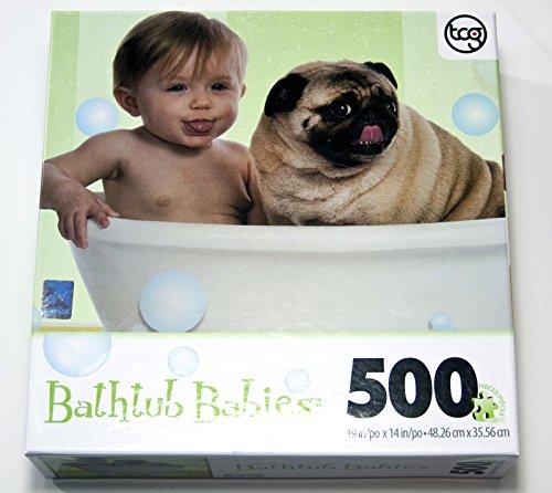 Bathtub Babies 500 Piece Puzzle - Baby, Pug & Bubbles by TCG 500 Piece Tub
