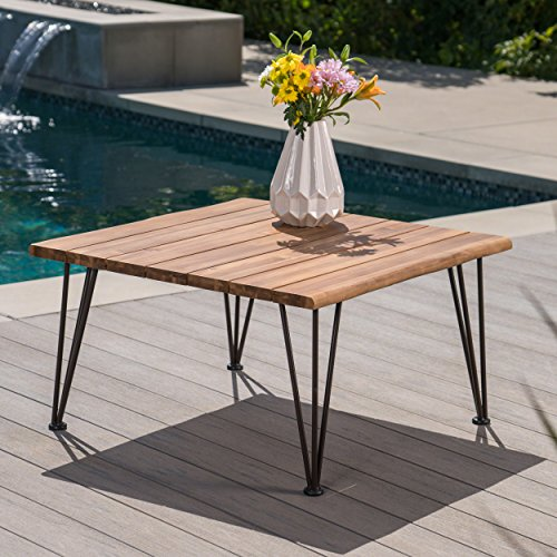 (Zach Outdoor Industrial Teak Finish Acacia Wood Coffee Table with Rustic Metal Finish Iron Frame)