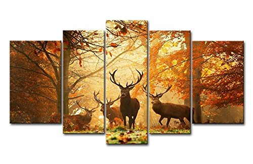 Natural Landscape Paintings Wall Art Deer in Autumn Forest 5 panel Picture Print on Canvas