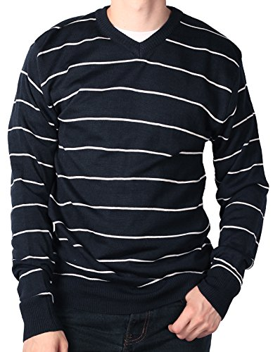 Blue Striped Sweater (Ablanche Men's Weekend Striped Premium Acrylic Sweater, Navy/White, Size Large)