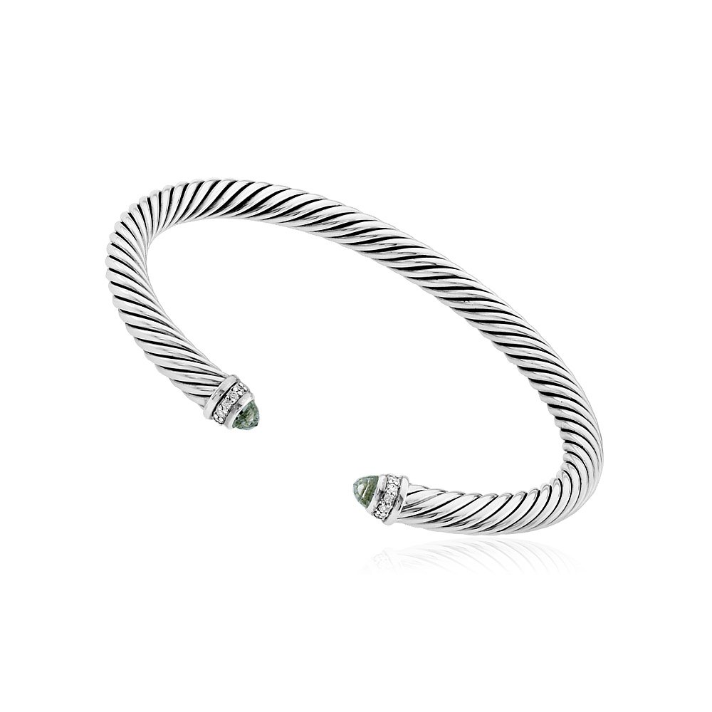 David Yurman Cable Classics Prasiolite & Diamonds Bracelet B04182SSAPLDI