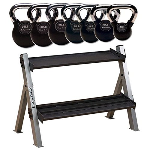 5-35 lb. Chrome Kettlebell and Rack Package by Body-Solid