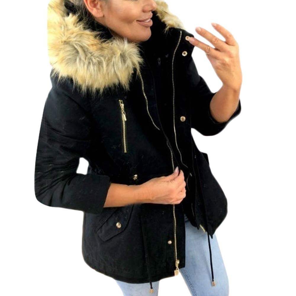 CHIDY Womens Winter Warm Military Hooded Parkas Solid Casual Zipper Faux Fur Hood OutwearCoat Jacket(Small,Black) by CHIDY
