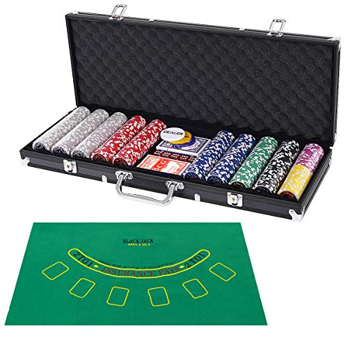 - Costzon Poker Chip Set, 11.5 Gram with Aluminum Case, 5 Dice Chips, 2 Decks of Playing Cards, Dealer Buttons (Black Case, Set of 500 + Layout)