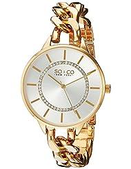 SO & CO New York Women's 5225.3 SoHo Quartz Stainless Steel Gold-Tone Link Bracelet Watch