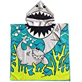 Peicees Kids Beach Swim Pool Towel Toddler Baby Children Bath Shower Towel Bathrobe Hooded Poncho For 2-10 Years Old Boys and Girls(Shark 1)
